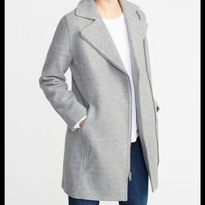 Great Condition Gray Soft Brushed Moto Coat
